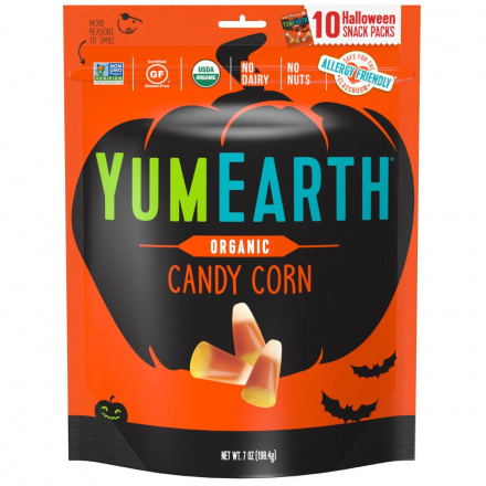 Front of YumEarth Organic Candy Corn Halloween Snack Packs, 10 Snack Packs