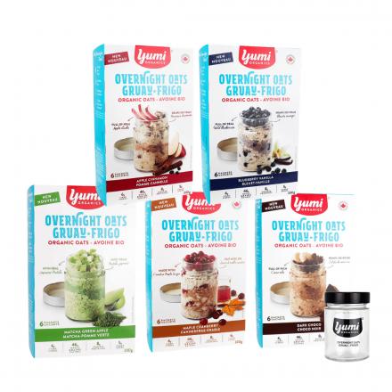 Front of Yumi Organics 5 Flavour Overnight Oats Kit + Jar, 1 Kit