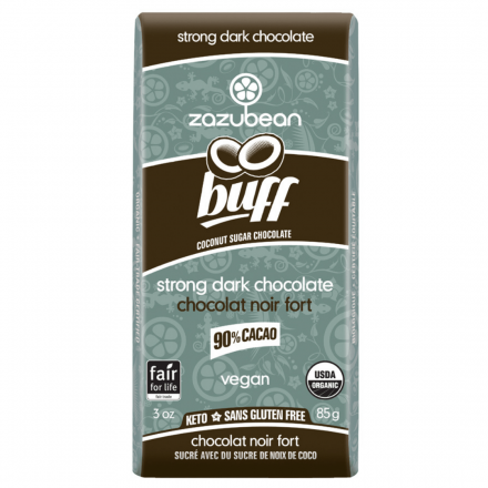 Front of Zazubean Buff 90% Cacao Strong Dark Chocolate Coconut Sugar Chocolate