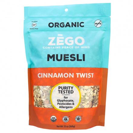 Front of Zego Organic Gluten-Free Muesli Cinnamon Twist, 368g
