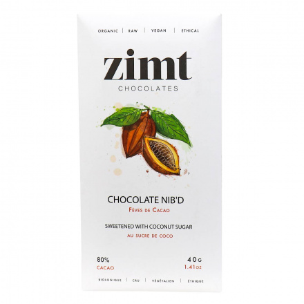 Front of Zimt Chocolates 80% Cacao Chocolate Nib'd, 40g