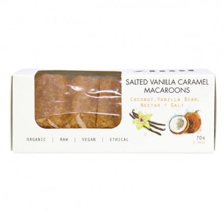 Front of Zimt Chocolates Salted Vanilla Caramel Macaroons, 70g