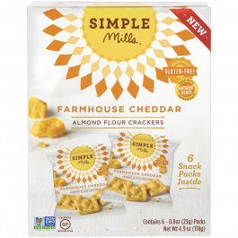 Simple Mills Farmhouse Cheddar Almond Flour Cracker Snack Pack, 138g