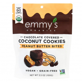 Emmy's Organic Chocolate Covered Coconut Cookie Bites Peanut Butter, 100g