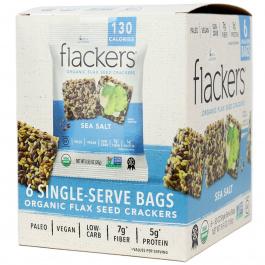 Flackers Gluten-Free Keto Flax Seed Crackers Sea Salt, 6 bags
