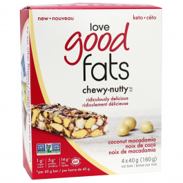 Love Good Fats Chewy-Nutty Keto Bars Coconut Macadamia, 4 Pack