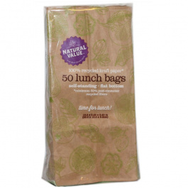 Natural Value 100% Recycled Lunch Bags, 50 Ct