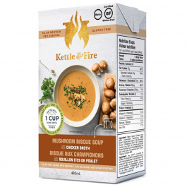 Kettle & Fire Mushroom Bisque Keto Soup with Chicken Bone Broth, 479g