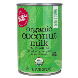 Natural Value Organic Regular Coconut Milk, No Guar Gum, 400ml