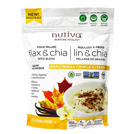 Nutiva Cold Milled Organic Flax & Chia Seed Blend Maple Vanilla, 340g