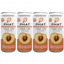 Phat Iced Tea With Electrolytes and MCT Oil Heirloom Peach, 4 Cans