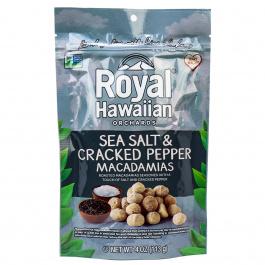 Royal Hawaiian Orchards  Sea Salt and Cracked Pepper Macadamia Nuts, 113g