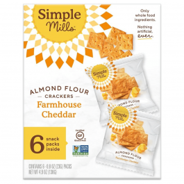 Simple Mills Grain-Free Almond Flour Crackers Farmhouse Cheddar Snack Pack, 138g
