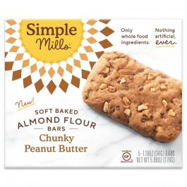 Simple Mills Grain-Free Soft Baked Almond Flour Bars Chunky Peanut Butter, 5 Bars