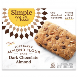 Simple Mills Grain-Free Soft Baked Almond Flour Bars Dark Chocolate Almond, 5 Bars