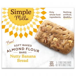 Simple Mills Grain-Free Soft Baked Almond Flour Bars Nutty Banana Bread, 5 Bars