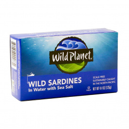 Wild Planet Non-GMO Wild Pacific Sardines in Water with Sea Salt, 125g