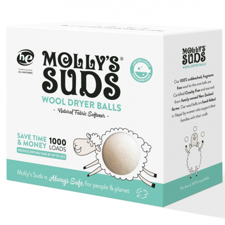 Molly's Suds 100% Unbleached Wool Dryer Balls, 3 Balls
