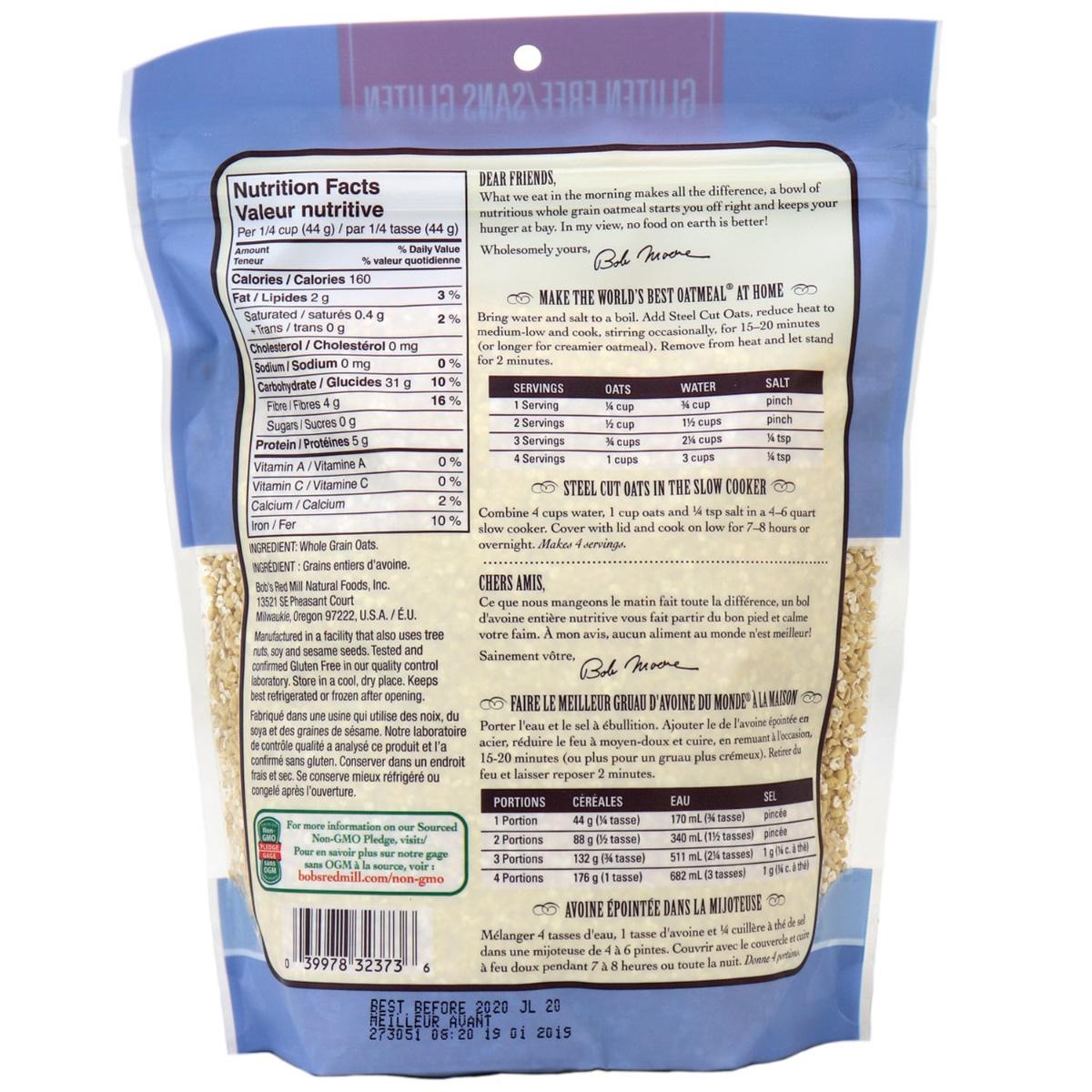 Bob S Red Mill Gluten Free Steel Cut Oats In Canada Non Gmo Oatmeal Breakfast Hot Cereal Naturamarket Ca